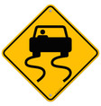 Yellow Wet Road Sign vector image vector image