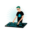young smiling male hipster dj in glasses playing vector image