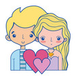 beauty couple together with hairstyle design vector image