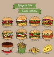 Burger and Fries Doodle Collection vector image