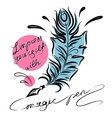 Feather with ink lettering vector image