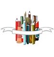 Makeup Set Colorful Drawing with Ribbon vector image