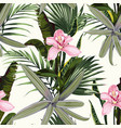 amazing tropical orchid flowers pattern vector image vector image