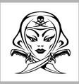 Amazon girl warrior pirate vector image