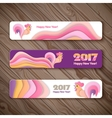 Banner web set for New Year of the rooster vector image
