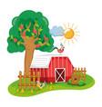 beautiful farm cartoon vector image