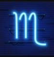Blue shining cosmic neon zodiac scorpio symbol on