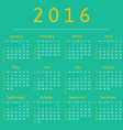 Calendar 2016 year week starts with sunday vector image vector image