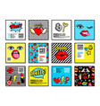 cards and banners in 80s-90s comic style vector image vector image