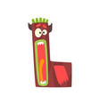 cartoon character monster letter l vector image vector image