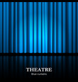 closed blue theater curtain with spotlight and vector image