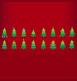 colorful christmas trees with decorations red vector image vector image