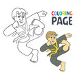coloring page with karate martial art player vector image vector image