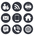 Contact mail icons Communication signs vector image vector image
