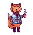 cute animal a little fox with a cup of tea and a vector image vector image