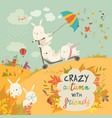 cute crazy rabbits playing in autumn fall season vector image vector image