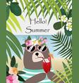 cute teddy bear in tropical beach cartoon vector image
