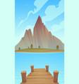 dock on mountain lake vector image vector image