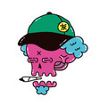 dope skull in a cap smoke marijuana vector image vector image