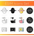 food preparation icons set vector image