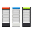 fridges with glazed door on white background vector image vector image