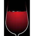 glass red wine with backlighting vector image