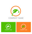 green leaf symbol company logo vector image vector image