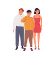 group smiling teenagers standing together vector image vector image