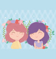 happy women flowers in hair ornament decoration vector image