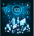 ico bitcoin cryptocurrency people mining vector image vector image