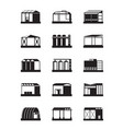 industrial warehouses icon set vector image vector image
