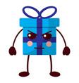 kawaii present cartoon angry facial expression vector image