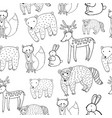 kids drawing of animals - seamless pattern doodle vector image vector image