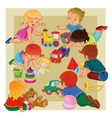 little boys and girls sitting on floor playing vector image