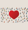 love red heart shape crowd celebrate feeling of vector image