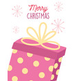 merry christmas dotted gift box snowflakes vector image