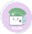 Money profit concept in line art style vector image