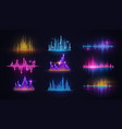 music sound wave neon equalizers audio technology vector image vector image