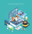 online medicine isometric composition vector image vector image