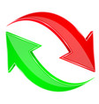 red and green 3d arrows up ad down signs vector image