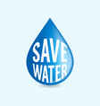 save water concept world water day vector image vector image