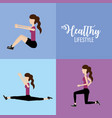 set woman healthy lifestyle to do exercise vector image vector image