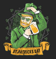 st patricks day green shamrock beer party vector image