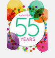 template 55 years anniversary congratulations vector image vector image