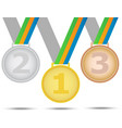 three winners medals - from gold silver and bronze vector image