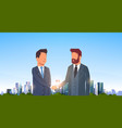two businessmen shaking hands partners successful vector image