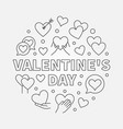 valentines day round symbol - outline vector image