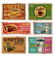 vintage coffee shop and cafe metal signs vector image