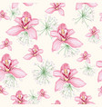 watercolor style white herbs and pink orchid vector image vector image