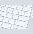 white computer keyboard close up image background vector image vector image